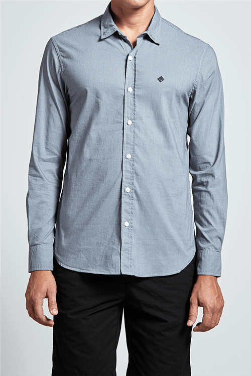 Camisa Slim com Elastano Preto Gg