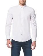 Camisa Slim Ml Micro Listrada Fio 60 - Branca e Azul Claro - 1