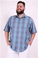 Camisa Tricoline Xadrez Plus Size Azul 9