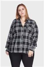 Camisa Xadrez 100% Algodão Plus Size Preto-54