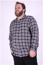 Camisa Xadrez Flanela Plus Size Preto P