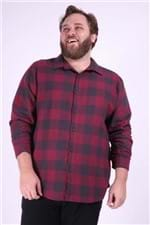 Camisa Xadrez Flanela Plus Size Vinho P