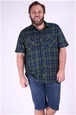 Camisa Xadrez Manga Curta Plus Size Verde M