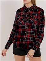 Camisa Xadrez Manga Longa Feminina Azul Marinho/vermelho