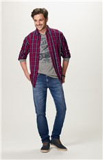 Camisa Xadrez Tricoline Malwee Vinho - P