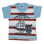 Camiseta Bebê Masculina Manga Curta Azul Claro-M