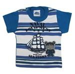 Camiseta Bebê Masculina Manga Curta Azul Jeans-M