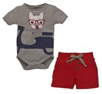 Camiseta C/ Shorts Infantil Grow Up Menino em Algodão Amalfi