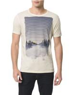 Camiseta Calvin Klein Jeans Estampa Calvin Paisagem Cinza Claro - GG
