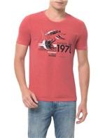 Camiseta Calvin Klein Jeans Estampa Repetição Vermelha CAMISETA CKJ MC ESTAMPA REPETIÇÃO - VERMELHO - G