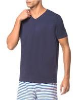 Camiseta Ck Swim Gola V Etiqueta Barra - Marinho - PP