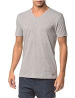 Camiseta Ck Swim Gola V Etiqueta Barra - Mescla - M