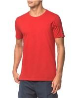 Camiseta Ck Swim Mc Etiqueta Manga - Vermelho - P