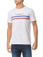 Camiseta Ckj Mc Est Frase e Faixas - Branco 2 - P