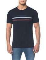 Camiseta Ckj Mc Est Frase e Faixas - Marinho - P