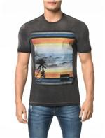 Camiseta CKJ MC Estampa Paisagem Praia - P