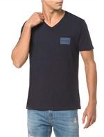 Camiseta Ckj Mc Estampa Quadrado Peito - Marinho - PP