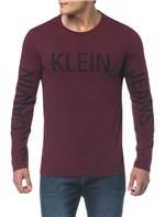 Camiseta Ckj Ml Est Calvin Klein Jeans - Bordô - PP