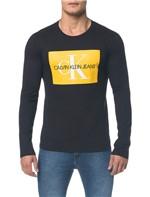 Camiseta Ckj Ml Est Quadrado Logo - Preto - Pp