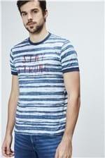 Camiseta College com Estampa de Listras