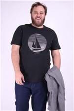 Camiseta com Silk Barco Plus Size Preto M
