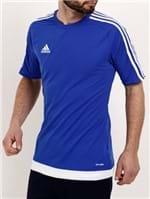 Camiseta de Futebol Masculina Adidas Azul/branco