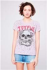 Camiseta Destroyed Estampada Feminina