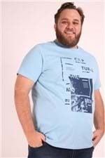Camiseta Estampa Capture Plus Size Azul M