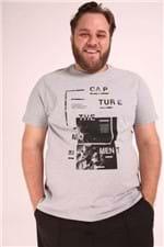 Camiseta Estampa Capture Plus Size Cinza P