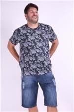 Camiseta Estampa Caveira Plus Size Azul Marinho M