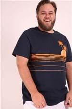 Camiseta Estampa Coqueiro Plus Size Azul Marinho M