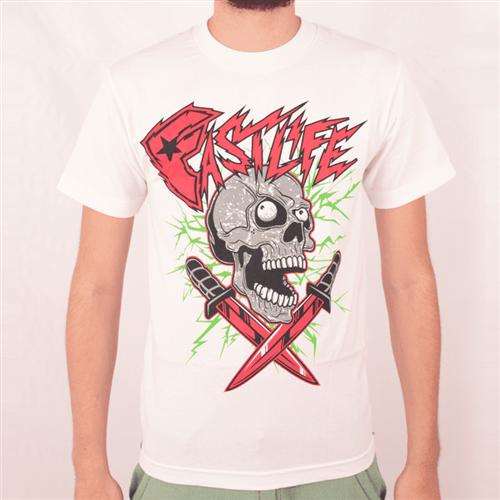 Camiseta Famous Fastlife Skull Branco/vermelho P
