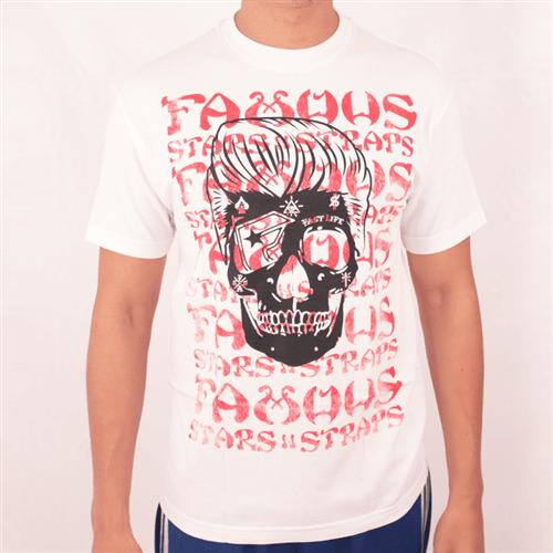 Camiseta Famous Pompadour Skull Branco M