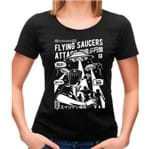 Camiseta Feminina Flying Saucers Attack P - PRETO
