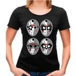 Camiseta Feminina Jason Rock Faces P - PRETO