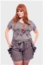 Camiseta Gatos com Rosas Plus Size Grafite-48