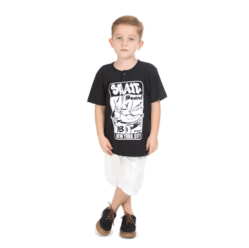 Camiseta Infantil Abrange Skateboard Preto 04