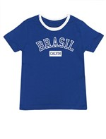 Camiseta Infantil Calvin Klein Jeans Estampa Copa Azul Carbono - 8