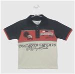 Camiseta Infantil Masculina Manga Curta Gola Polo Cinza-4