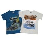 Camiseta Infantil Masculina Manga Curta Kit com 2 Unidades Azul Petróleo e Cinza Mescla-4