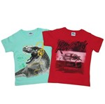 Camiseta Infantil Masculina Manga Curta Kit com 2 Unidades Verde e Vermelho-4