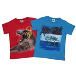 Camiseta Infantil Masculina Manga Curta Kit com 2 Unidades Vermelho e Azul Jeans-4