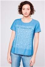 Camiseta Jeans com Estampa Frontal
