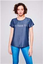 Camiseta Jeans Xadrez com Tipografia