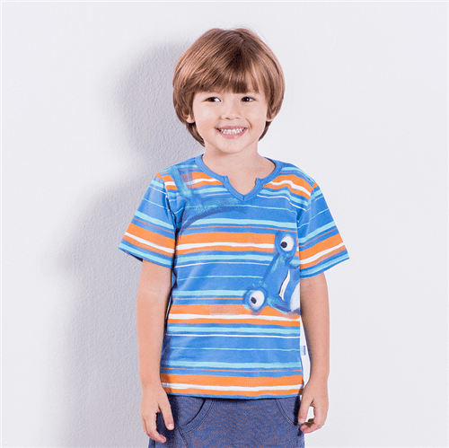 Camiseta Listra Bicho Bicolor Azul Denim/01