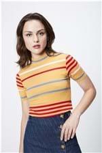 Camiseta Listrada Cropped Feminina