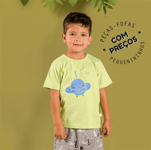 Camiseta M/c Espacial Verde/1 e 2