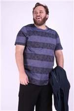 Camiseta Malha Folhagem Plus Size Azul Marinho M
