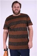 Camiseta Malha Folhagem Plus Size Preto M