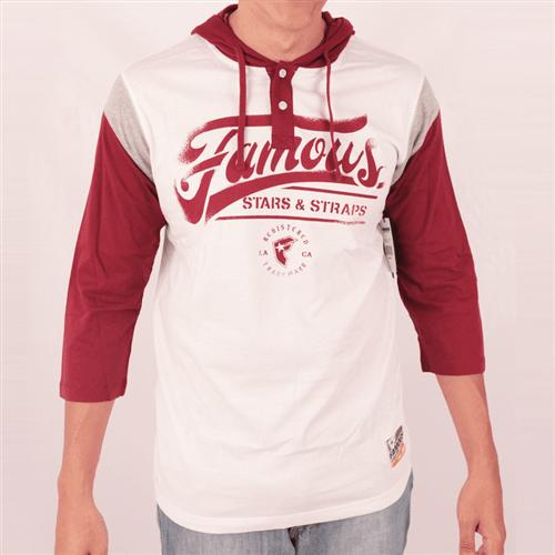 Camiseta Manga 3/4 Famous Blitz Sleeve Hood Branco P